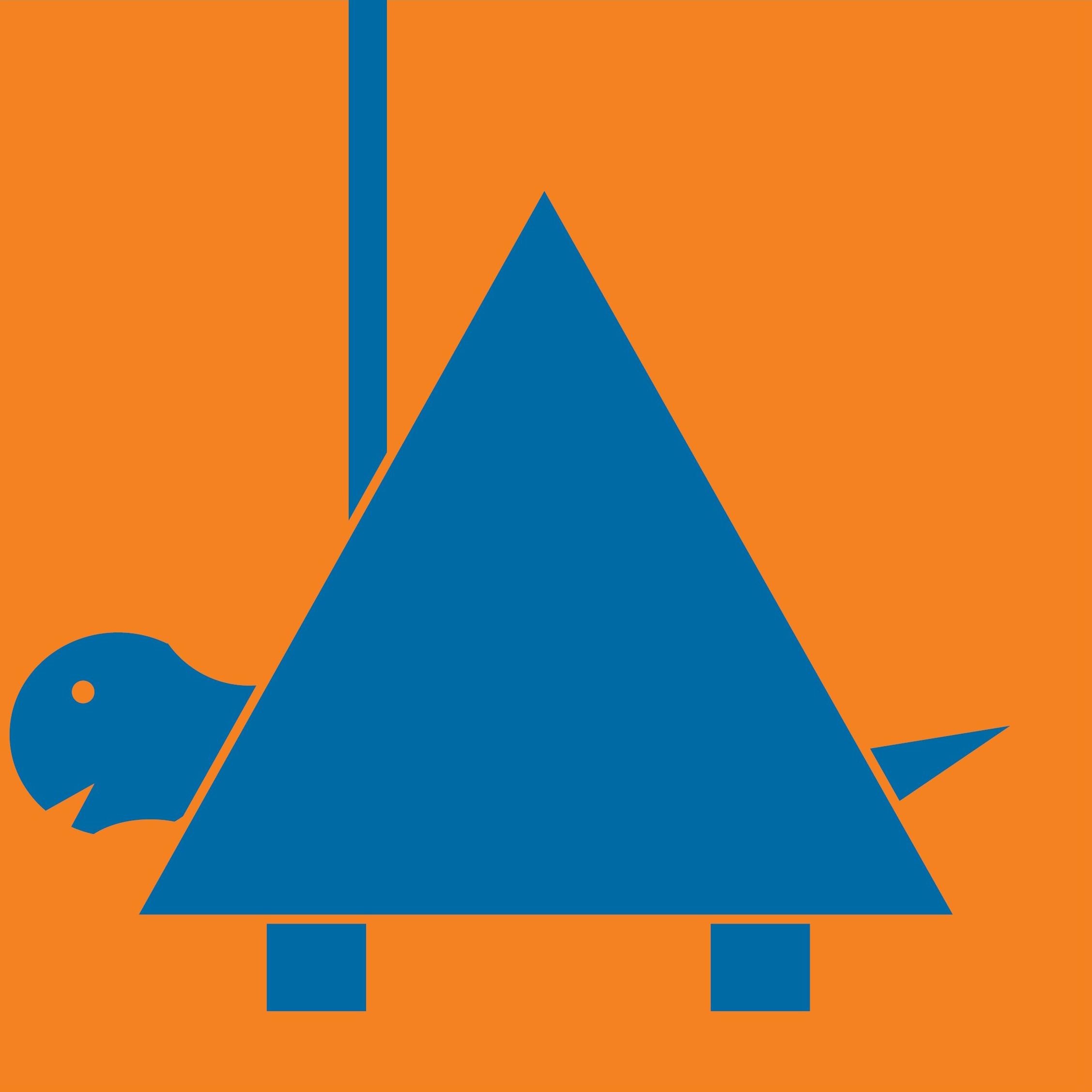 En blå sköldpadda mot en orange bakgrund