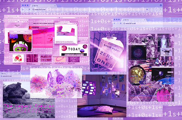 Lila bild med collage av text