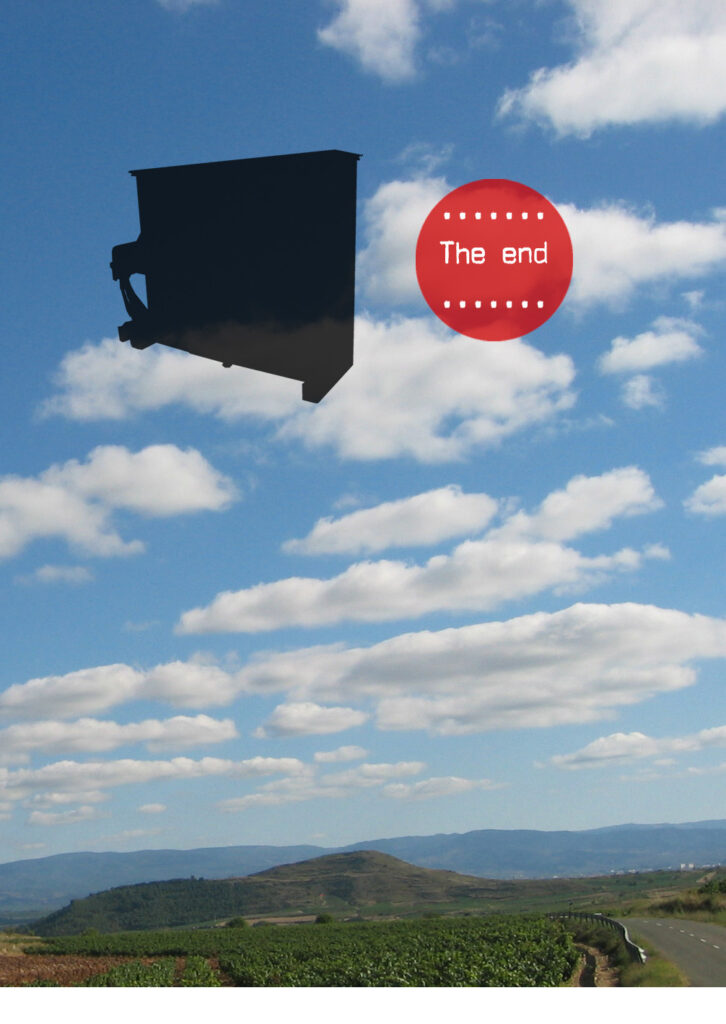 Bild med flygande piano