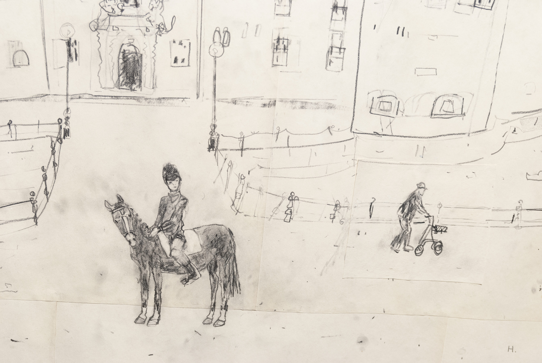 Teckning med en häst