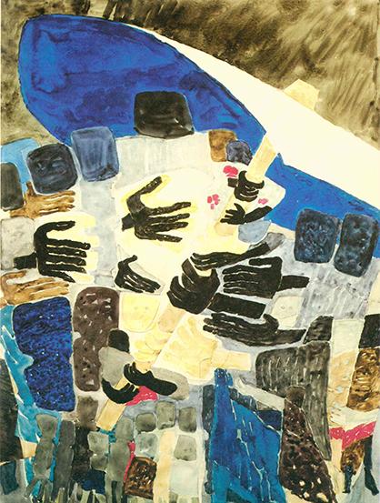 """Målning, tempera på papper, """"FN-paraplyet"""", av Vera Nilsson, 1961."""