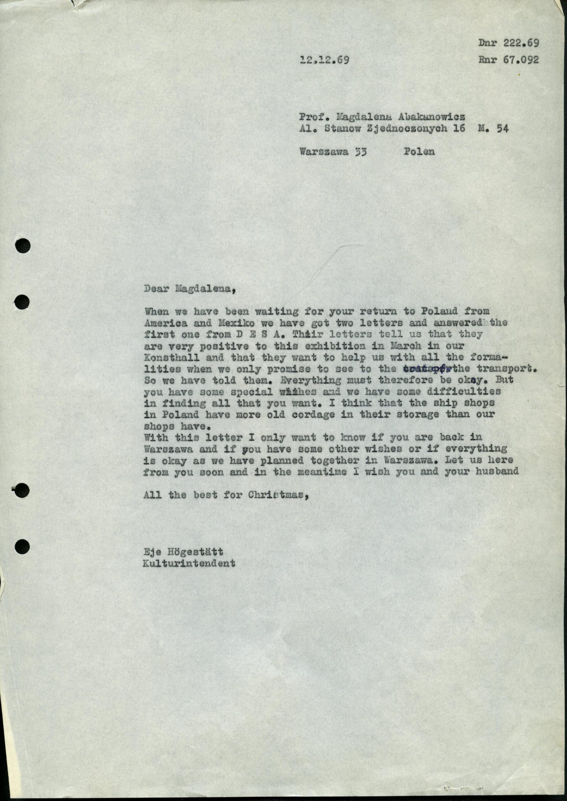 brev från Eje